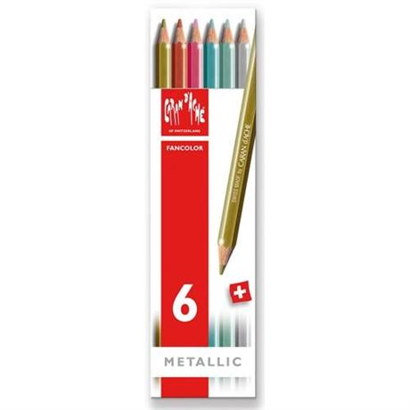 Caran d'Ache Fancolor Box of 6 Water Soluble Metallic Colour Pencils Image 1