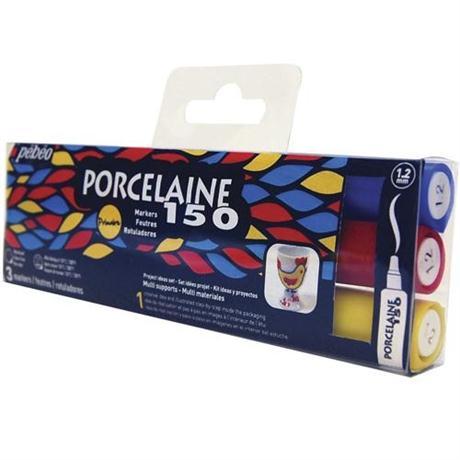Pebeo Porcelaine 150 Marker Set Of 3 Primary Colours Bullet Tip Image 1