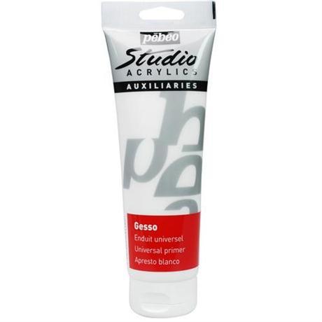 Pebeo Studio WHITE Gesso 250ml Tube Image 1