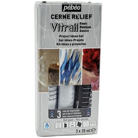 Pebeo Cerne Relief Basic Set 3 x 20ml Image 1