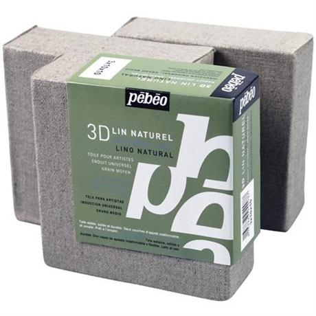 Pebeo 3D Natural Linen Canvases 10 x 10cm SET OF 3 Image 1