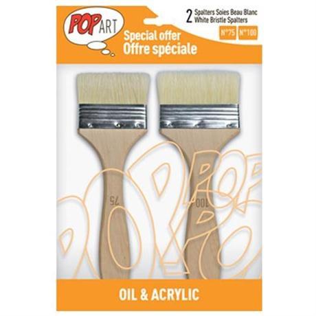 Pebeo Set of 2 White Bristle Spalter Brushes Image 1