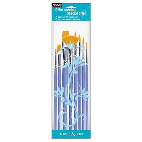 Pebeo Acrylic & Deco Set of 8 Brushes Round, Flat & Fan Image 1