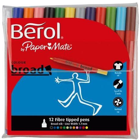 Berol Colour Broad Pens Wallet Of 12 Image 1