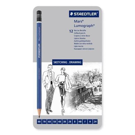 Staedtler Mars Lumograph Pencil - Tin of 12 soft degrees Image 1