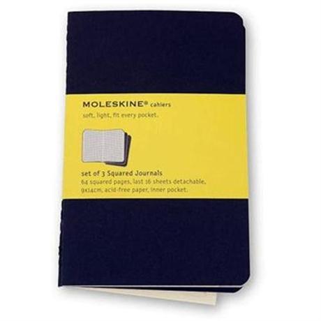 Moleskine Squared Cahier Pocket - Black (Set of 3) Journal Notebook Image 1