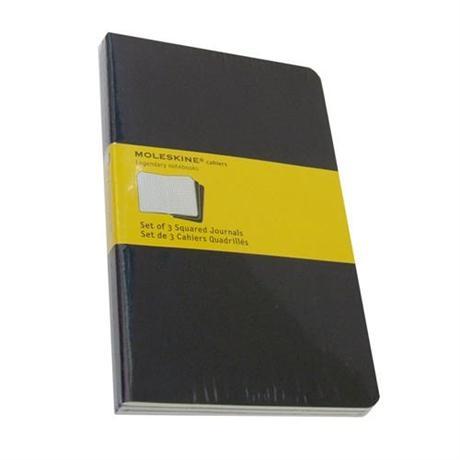 Moleskine Squared Cahier Large - Black (Set of 3) Journal Notebook Image 1