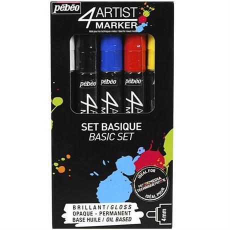 Pebeo 4ARTIST MARKER Set Of 5 Assorted Basic 4mm Pens Image 1
