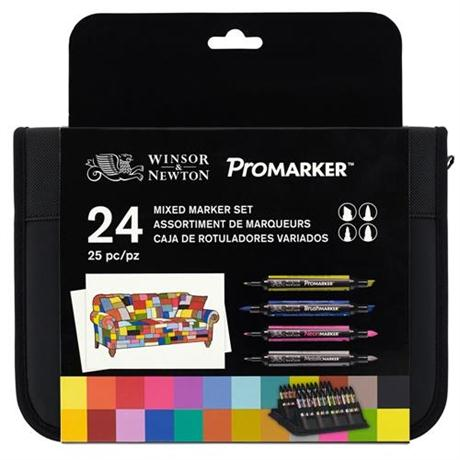 Winsor & Newton ProMarker Mixed Marker Wallet of 24 Image 1