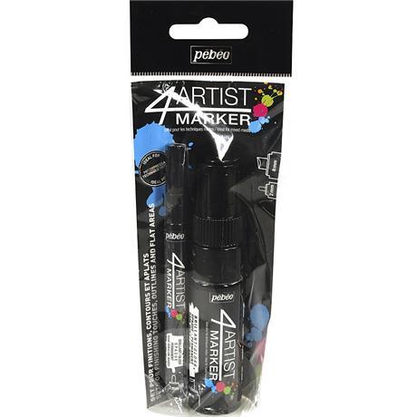 Pebeo 4ARTIST MARKER Set Of 2 Black Pens Image 1