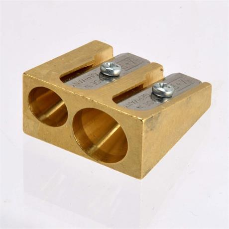 Solid Brass Sharpener Double Hole Wedge Design Image 1