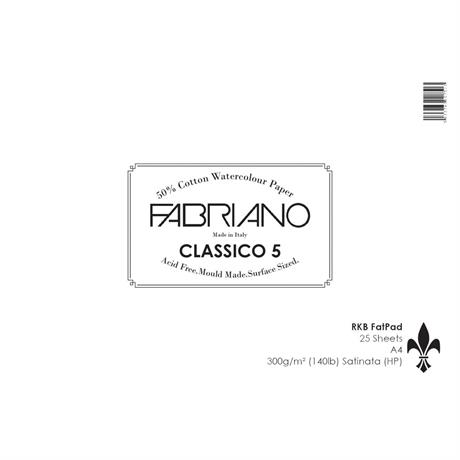 Fabriano Classico 5 Water Colour Fat Pad 140lbs/300gsm Hot Pressed Image 1
