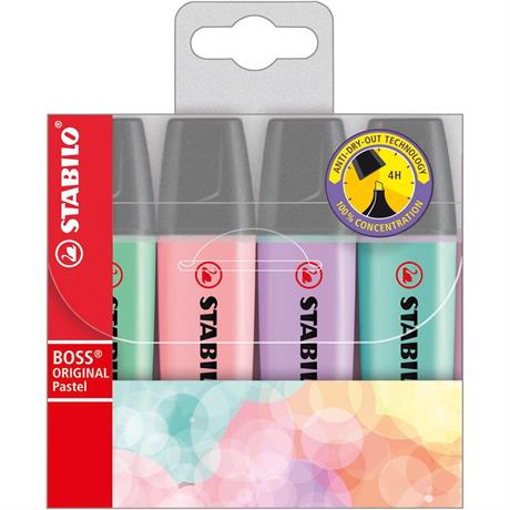 STABILO BOSS Pastel Wallet Of 4 Colours Image 1