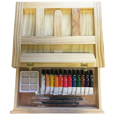 Pebeo Kids Easel Case With 12 x 12ml Acrylic Paints Image 1