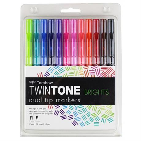 Tombow TwinTone Marker Set Of 12 Bright Colours Image 1