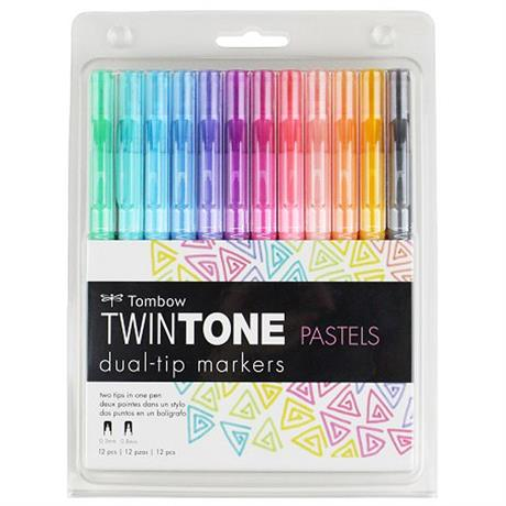 Tombow TwinTone Marker Set Of 12 Pastel Colours Image 1