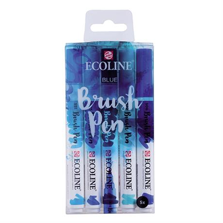 Ecoline Brush Pen Set Of 5 Blue Colours Image 1
