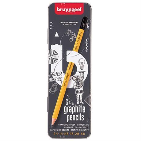 Bruynzeel 6 Graphite Pencils Tin Image 1