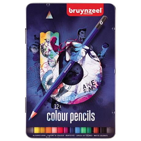 Bruynzeel 12 Colour Pencils In Blue Tin Image 1