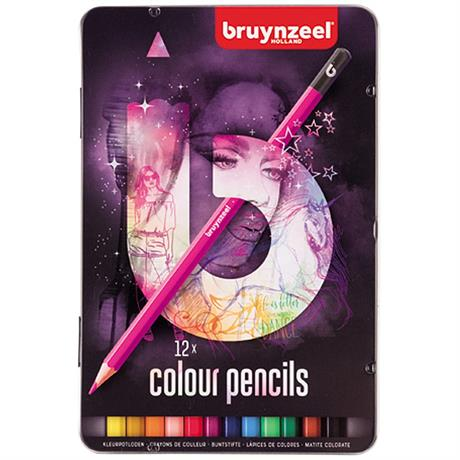 Bruynzeel 12 Colour Pencils In Pink Tin Image 1