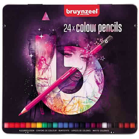 Bruynzeel 24 Colour Pencils In Pink Tin Image 1