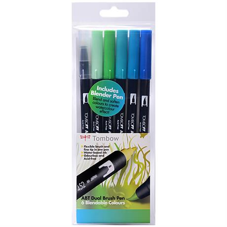 Tombow Dual Brush Pen Set Of 6 Ocean Colours Image 1