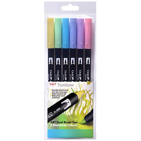 Tombow Dual Brush Pen Set of 6 - Pastels Image 1