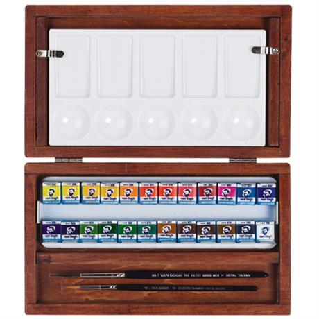 National Gallery Watercolour Wooden Box Set With 24 Half Pans Image 1