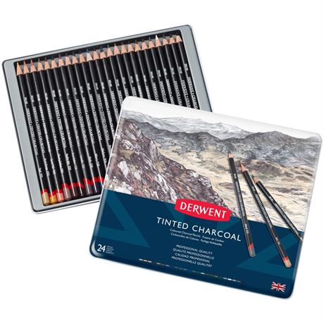 Derwent Tinted Charcoal Tin of 24 Image 1