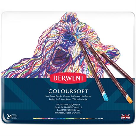 Derwent Coloursoft Pencils Tin of 24 Image 1