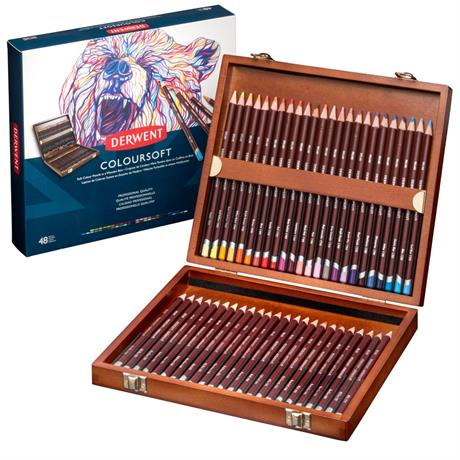 Derwent Coloursoft Pencils Wooden Box of 48 Image 1