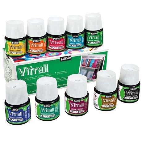 Pebeo Vitrail 10 x 45ml Colours Image 1
