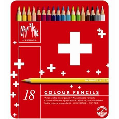 Caran d'Ache Swisscolor Pencils Tin Of 18 Image 1