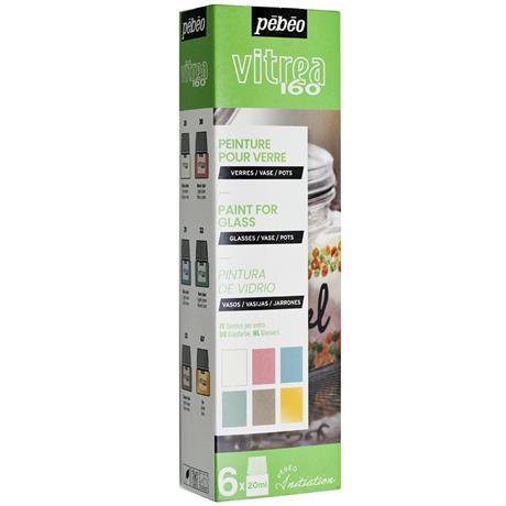Pebeo Vitrea 160 Pastel Initiation Set 6 x 20ml No.3 Colours Image 1