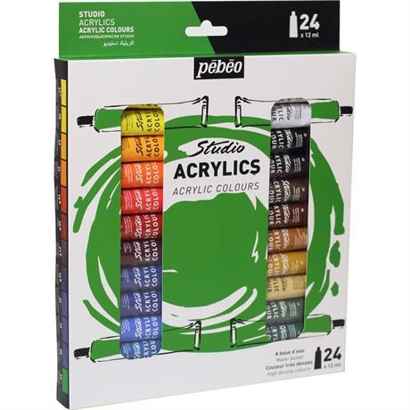 Pebeo Studio Acrylics Set of 24x12ml Image 1