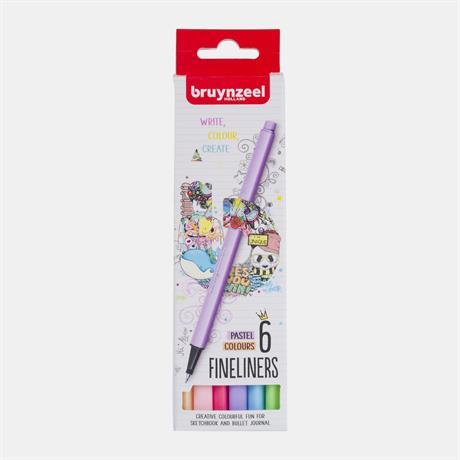 Bruynzeel Fineliner Pastel 6 Colour Set Image 1