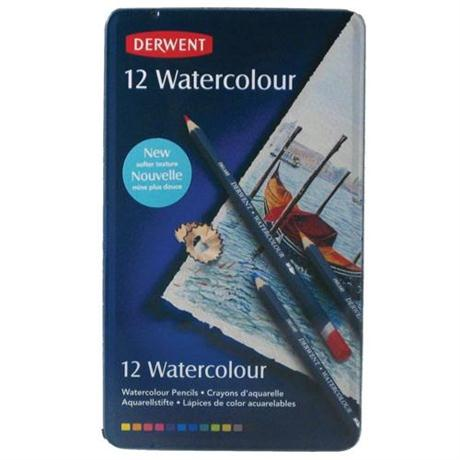 Derwent Watercolour Pencils Tin of 12 Image 1