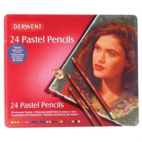 Derwent Pastel Pencils Tin of 24 Image 1