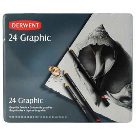 Derwent Graphic Pencils Tin of 24 Image 1