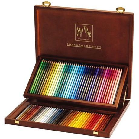 Caran D'ache Wooden Box Of 80 Supracolor Pencils Image 1