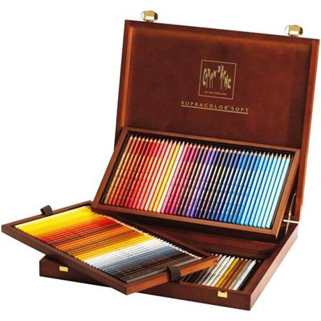 Caran D'ache Wooden Box Of 120 Supracolor Pencils Image 1