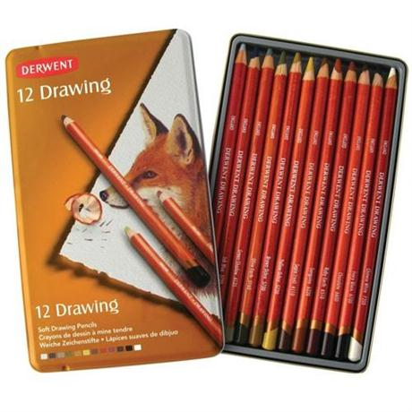 Derwent Drawing Pencils Tin of 12 Image 1