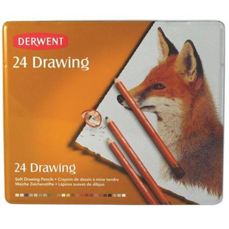 Derwent Drawing Pencils Tin of 24 Image 1