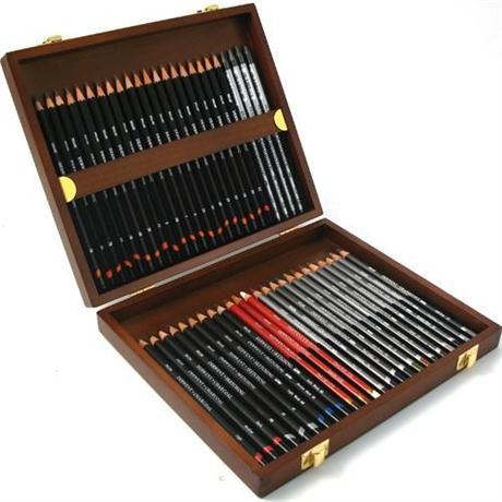 Derwent Sketching Pencil 48 Wooden Box Image 1