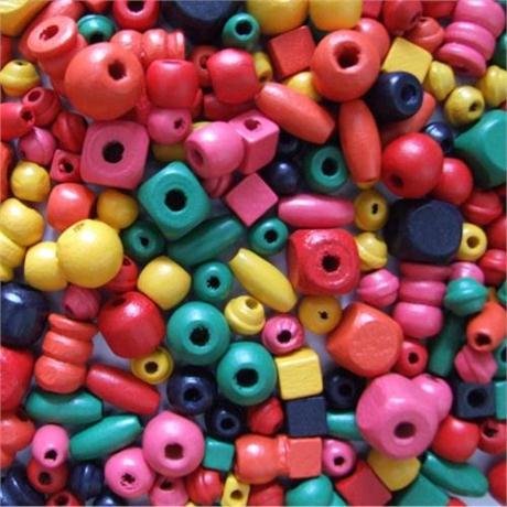 Wooden Craft Beads, 6 to 15mm, Assorted.(Approx 650) Image 1