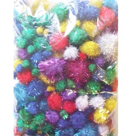 Large Pack Glitter Poms Assorted Sizes Image 1