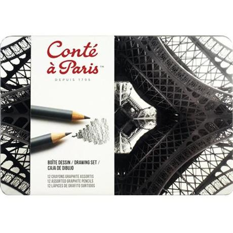 Conte Drawing Set Of 12 Assorted Graphite Pencils Image 1
