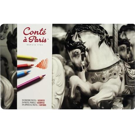 Conte Pastel Pencils Tin Of 24 Image 1