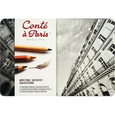 Conte Assorted Sketching & Drawing Set Of 12 Pencils Image 1