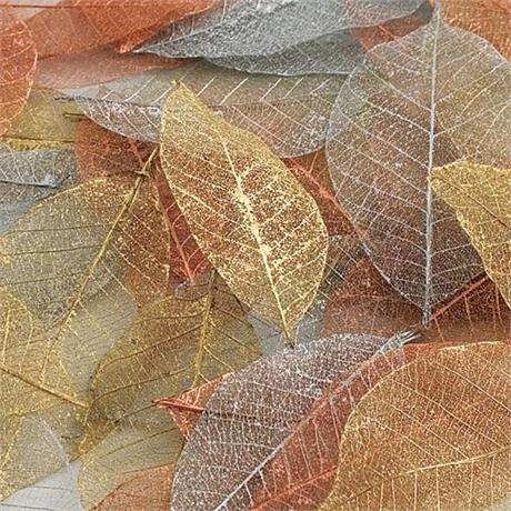 Skeleton Leaves 40 Pack - Metallic Colours Image 1